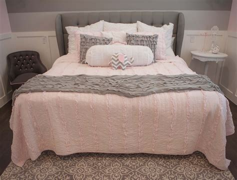 light pink and gray bedding light pink and grey bedroom 2017 with makeover copper flat