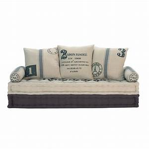 Banquette 3 places en coton beige et gris factory for Canapé 3 places pour deco chambre garcon ado