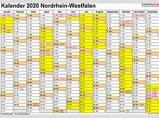 Kalender 2020 NRW Ferien, Feiertage, ExcelVorlagen
