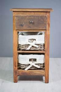 Meuble Bois Exotique : meuble colonne en bois exotique 2 paniers sur containers ~ Premium-room.com Idées de Décoration