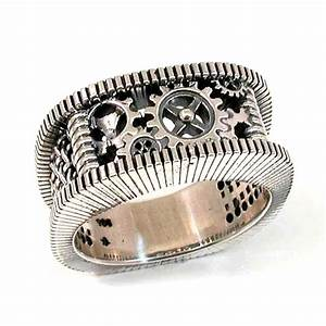 steampunk silver ring gears grooves and by swankmetalsmithing With mens wedding ring gears