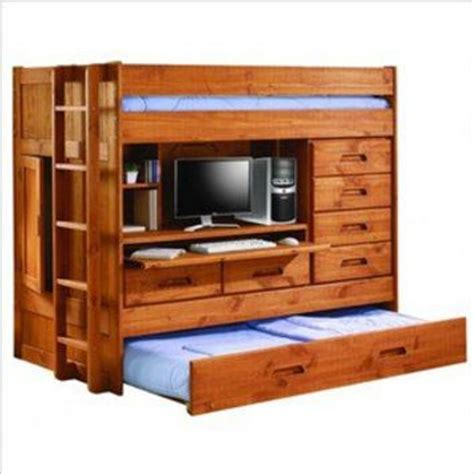 bunk bed with trundle desk and storage twin loft bunk bed w trundle bed rear from rjj869 on ebay