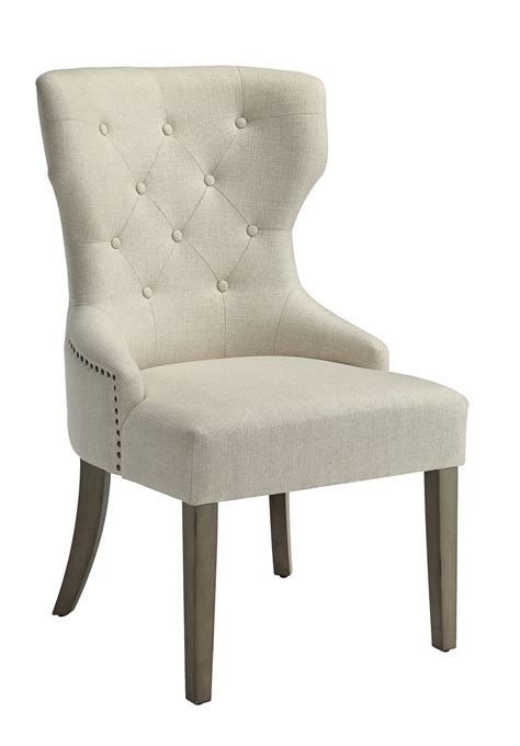 coaster florence upholstered beige dining chair set of 2