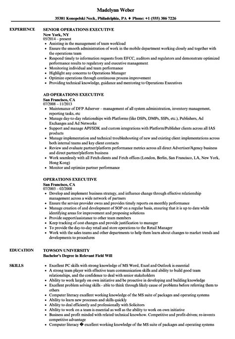 Sle Resume For Operations Manager by Operation Executive Resume Sle Diplomatic