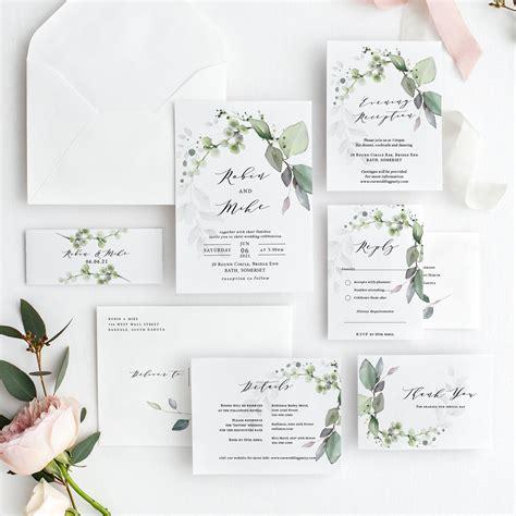 leaf gold greenery wedding invitation suite bundle
