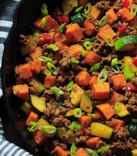 ground beef zucchini sweet potato skillet meal prep