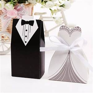 100pcs bridal gift cases groom tuxedo dress gown ribbon With wedding favor chocolate boxes