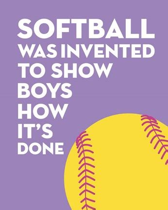 foto de Softball Quote Yellow on Purple 2 Fine Art Print by