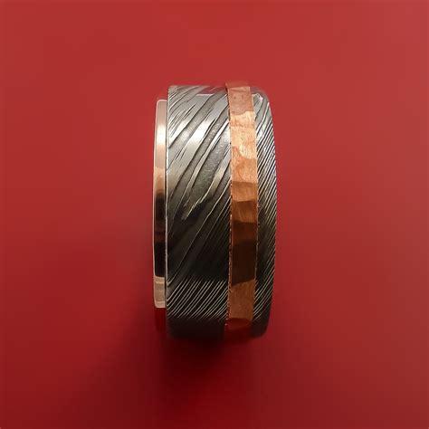 damascus steel  rose gold ring wedding band