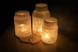 jar wedding centerpieces things brides jar wedding reception decor centerpieces frosted with lace onewed
