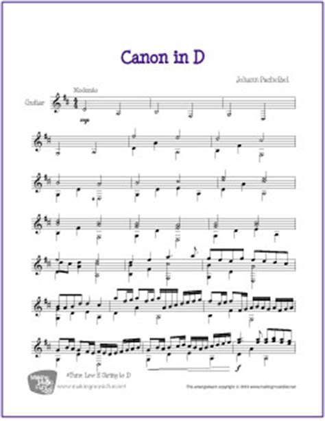 Copyright of this arrangement © 2011 los angeles guitar academy publishing. Canon in D (Pachelbel)   Free Easy/Intermediate Guitar Sheet Music