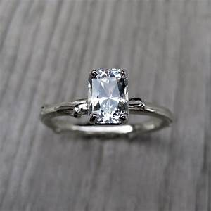 emerald cut engagement ring white sapphire onewedcom With white sapphire wedding ring