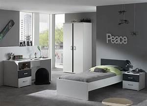 Chambre Enfant Moderne : chambre junior gris blanc joaquim ~ Teatrodelosmanantiales.com Idées de Décoration