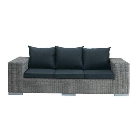 Canapé de jardin 3 places en résine tressée gris Bosphore