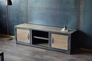 meuble tv style industriel acier bois micheli design With meuble style industriel