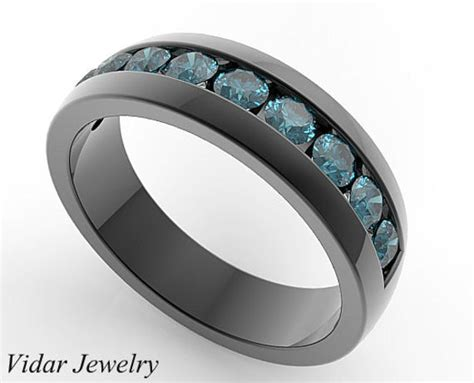 mens wedding band unique wedding bands wedding ring blue