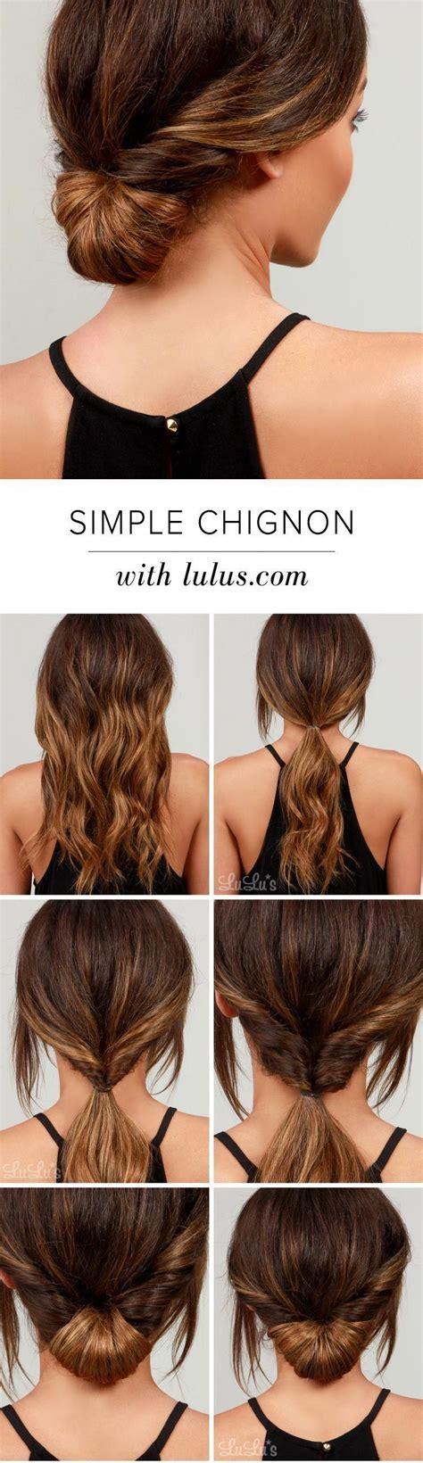 Simple Chignon #easylonghairstyles Hair styles Easy