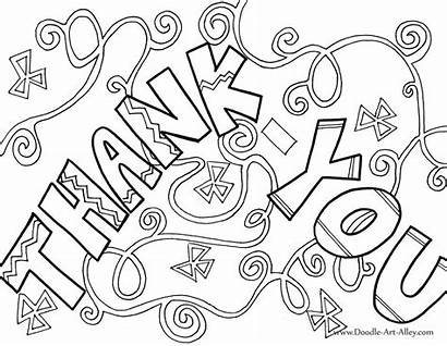 Thank Coloring Pages Card Greeting Printable Doodle