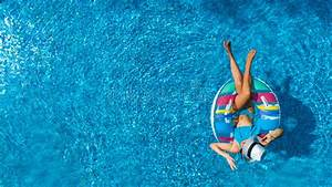 Aerial Top View Of Beautiful Girl In Swimming Pool From ...