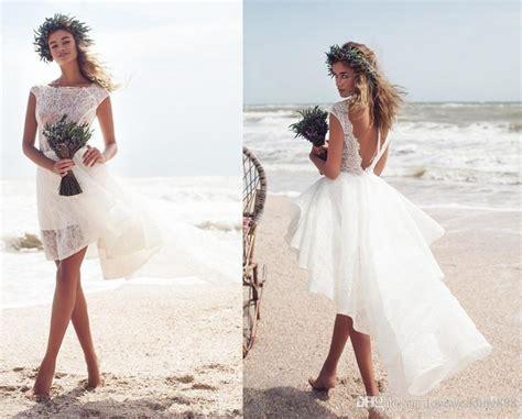 Discount 2018 Beach Short Wedding Dresses High Low Sexy