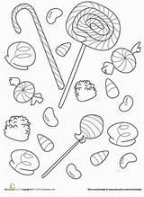Candy Coloring Pages Printable Halloween Worksheet Gumdrop Sweet Lollipops Gum Education Worksheets Corn Adult Colouring Sheets Kindergarten Drops Doodle Fun sketch template