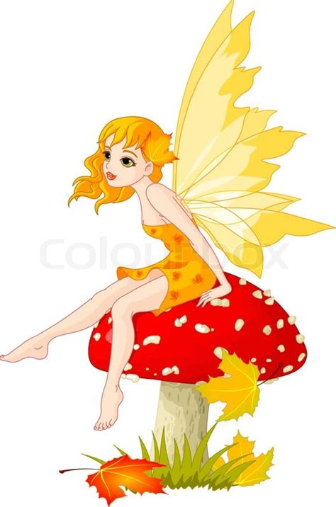 autumn fairy elf sitting  mushroom stock vector