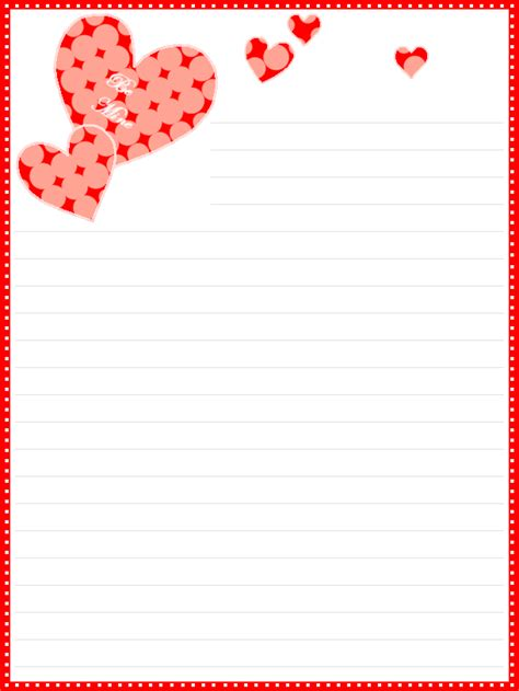 printable valentines day lined stationery date