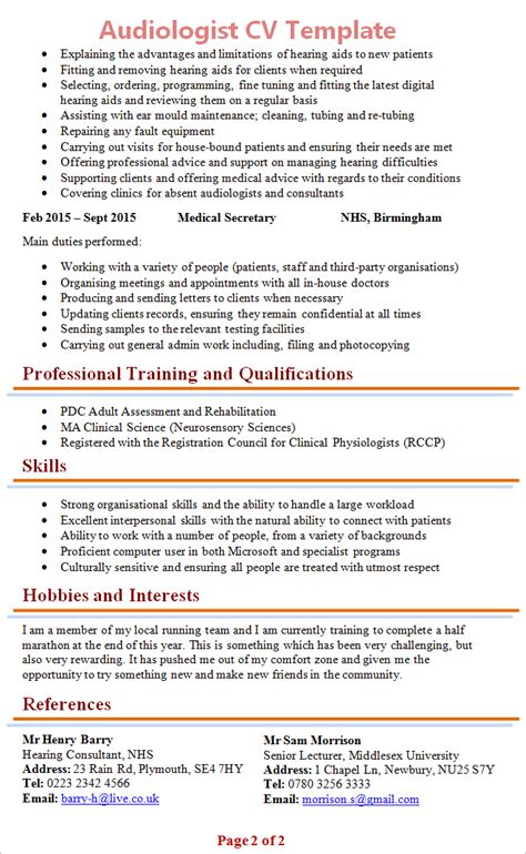 Audiology Resume Exles by Audiologist Cv Template 2