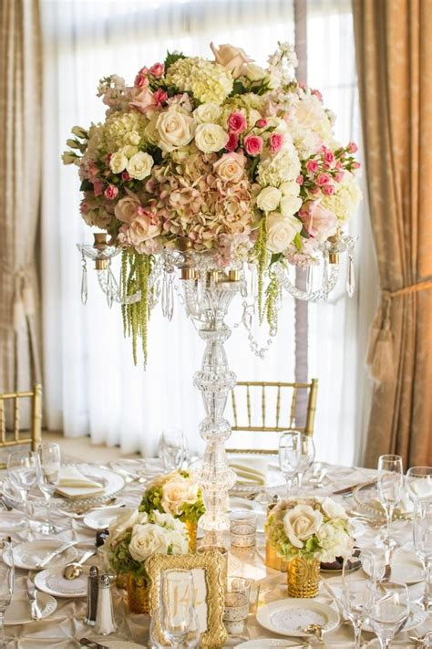 reception decor  crystal candelabrum floral