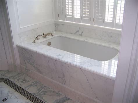Calacatta marble 1 piece tub deck & tub skirt