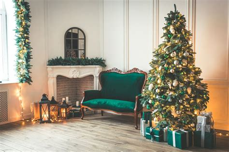 Christmas Living Room With A Firepla  Holiday Photos