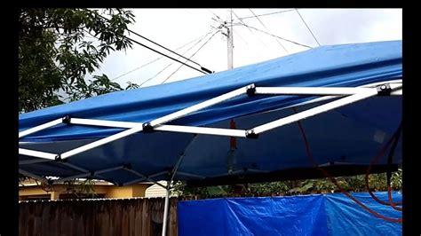 stop  portable awning  sagging  rain water youtube