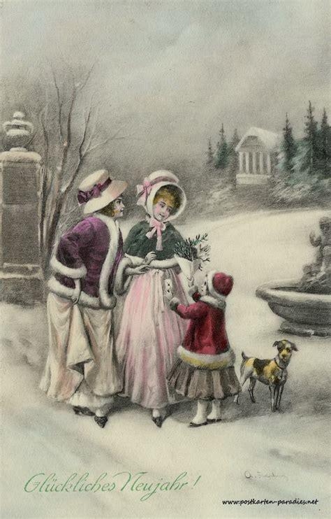 neujahrskarten und bleigiessen deutung alte postkarten