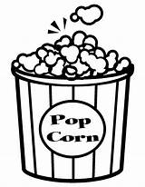 Popcorn Coloring Pages Corn Clipart Pop Printable Template Box Sheets Kernel Bowl Sketch Clip Print Outline Piece Preschool Cliparts Library sketch template