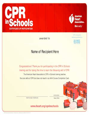 American heart association cpr courses in san jose. Fillable Online CPR in Schools Certificate WR (PDF ...