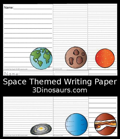 outer space fun planet themed writing paper writing paper lined writing paper informational