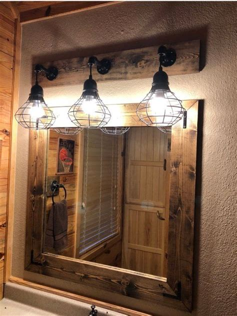 espresso mirror  light set bathroom set industrial
