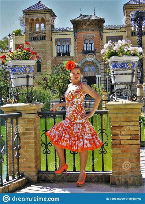 flamenco costume typical spanish orange andalucia traditional