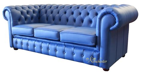 blue settee blue leather chesterfield sofa thesofa