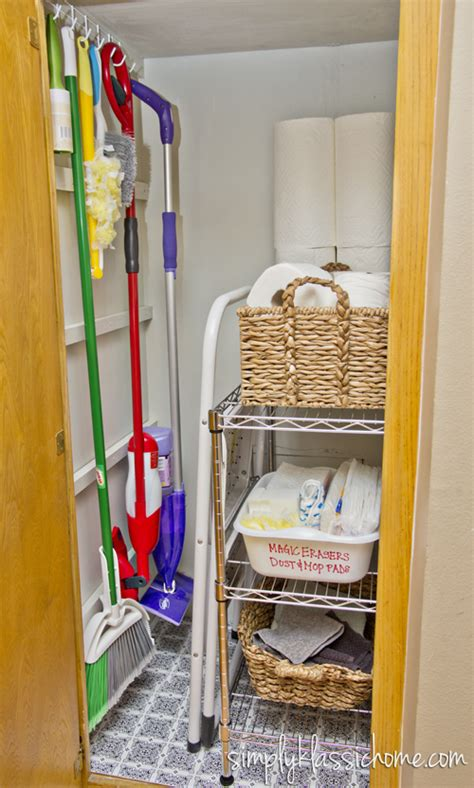 simply organized organizing the cleaning closet yellow