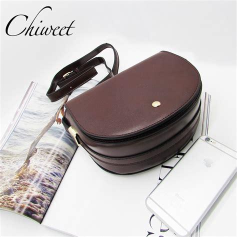 saddle bag brand handbag semicircle crossbody pu shoulder casual solid luxury leather bags