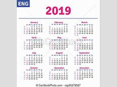 English calendar 2019, horizontal calendar grid, vector