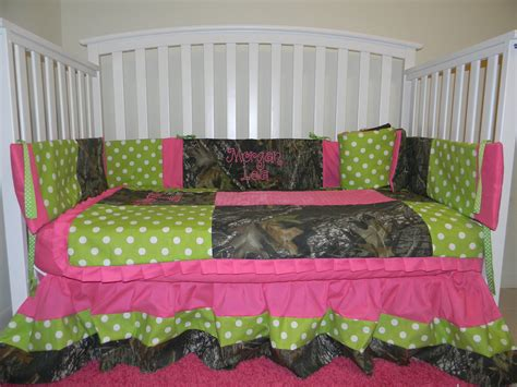 camo mossy oak with lime polka dots and pink baby crib
