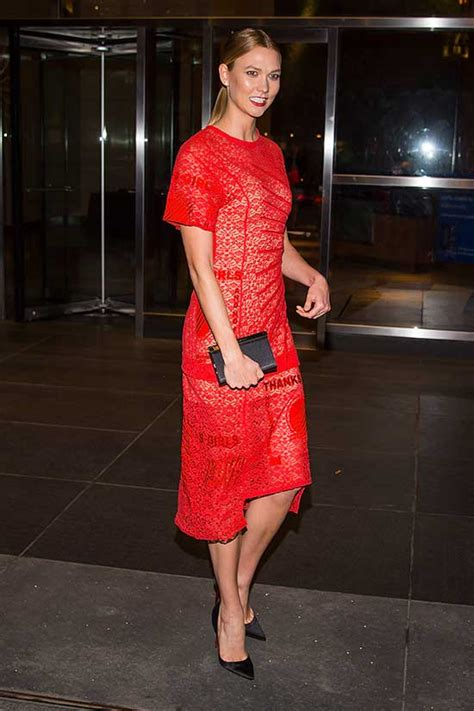 Karlie Kloss Stuns Red Dress While Out New York
