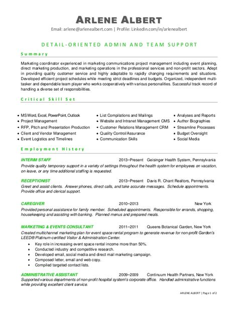 Event Marketing Manager Resume Exle by Resume Summary Project Coordinator Worksheet Printables Site