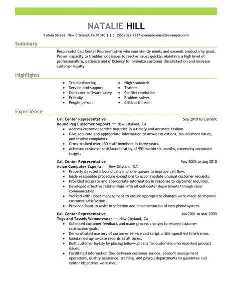Call Center Resume Template by Big Call Center Representative Exle Emphasis 2 Design
