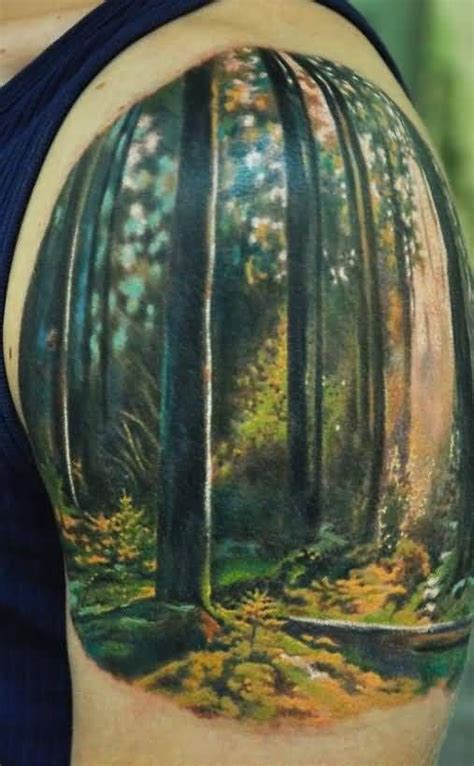 flying birds  moon  forest tree tattoo  shoulder