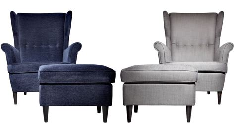 Two Strandmon Armchairs With Footstools, In Blue And Grey