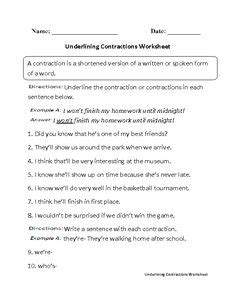 contraction worksheet images english worksheets