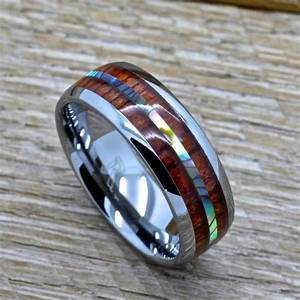 mens tungsten ring with abalone and genuine koa wood inlay With mens shotgun barrel wedding ring